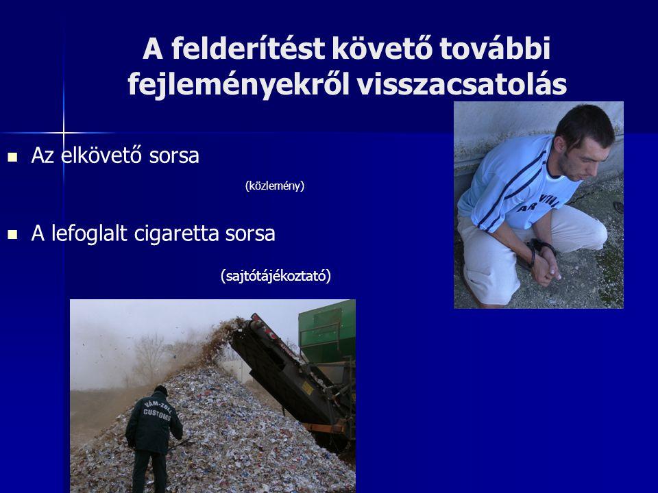 A felderítést követő további fejleményekről visszacsatolás Az elkövető sorsa (közlemény) A lefoglalt cigaretta sorsa (sajtótájékoztató)