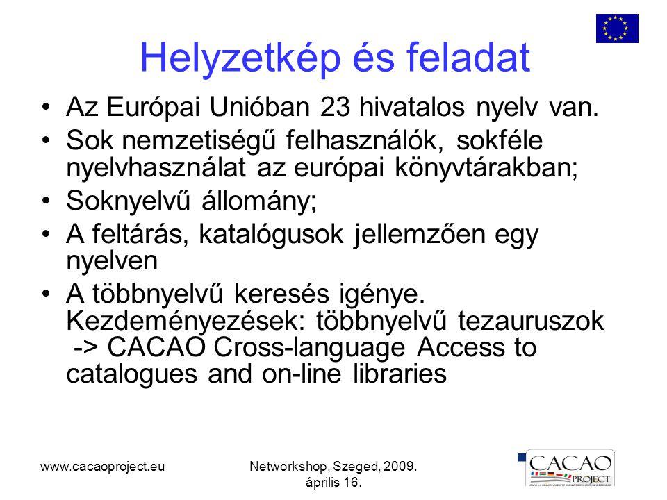 www.cacaoproject.euNetworkshop, Szeged, 2009. április 16.