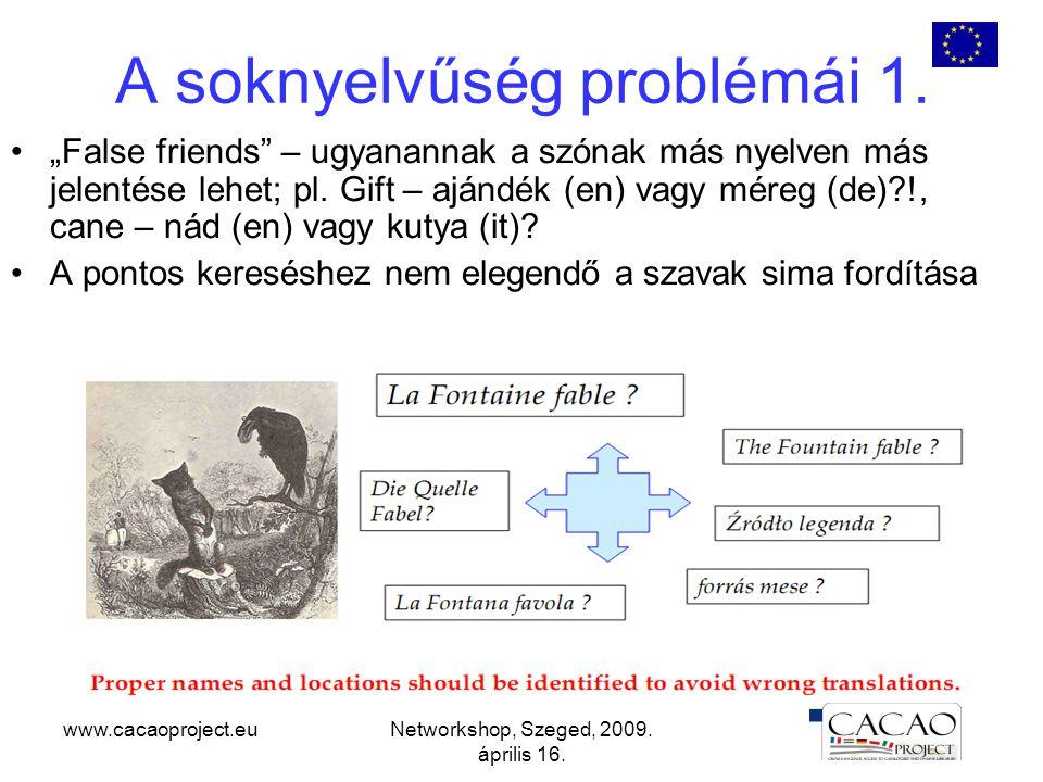 """www.cacaoproject.euNetworkshop, Szeged, 2009. április 16. A soknyelvűség problémái 1. """"False friends"""" – ugyanannak a szónak más nyelven más jelentése"""