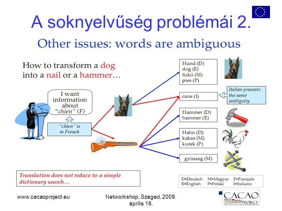 www.cacaoproject.euNetworkshop, Szeged, 2009. április 16. A soknyelvűség problémái 2.