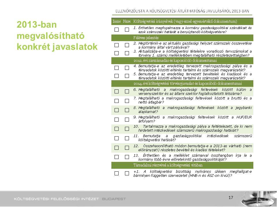 2013-ban megvalósítható konkrét javaslatok 17