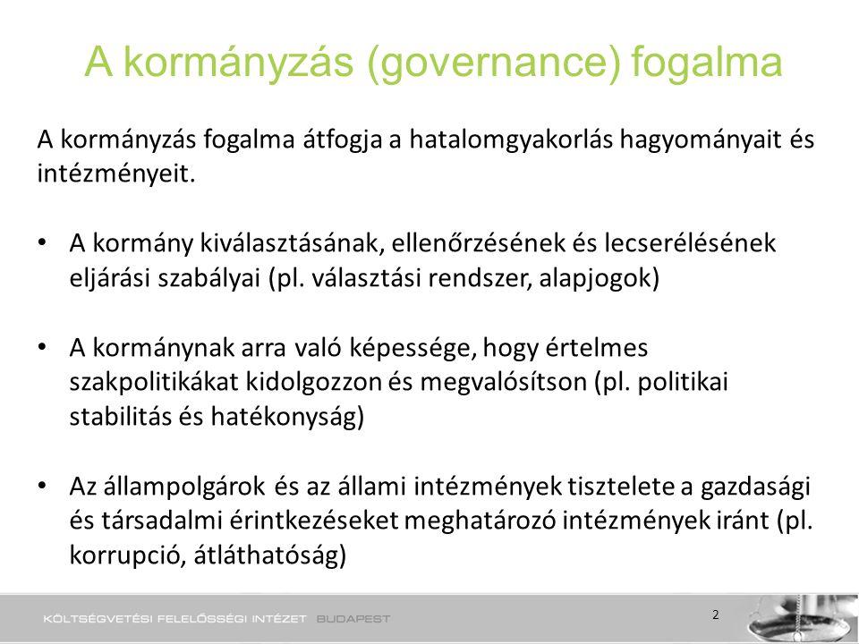 A kormányzás (governance) fogalma A kormányzás fogalma átfogja a hatalomgyakorlás hagyományait és intézményeit.