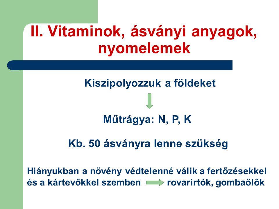 II. Vitaminok, ásványi anyagok, nyomelemek Kiszipolyozzuk a földeket Műtrágya: N, P, K Kb. 50 ásványra lenne szükség Hiányukban a növény védtelenné vá