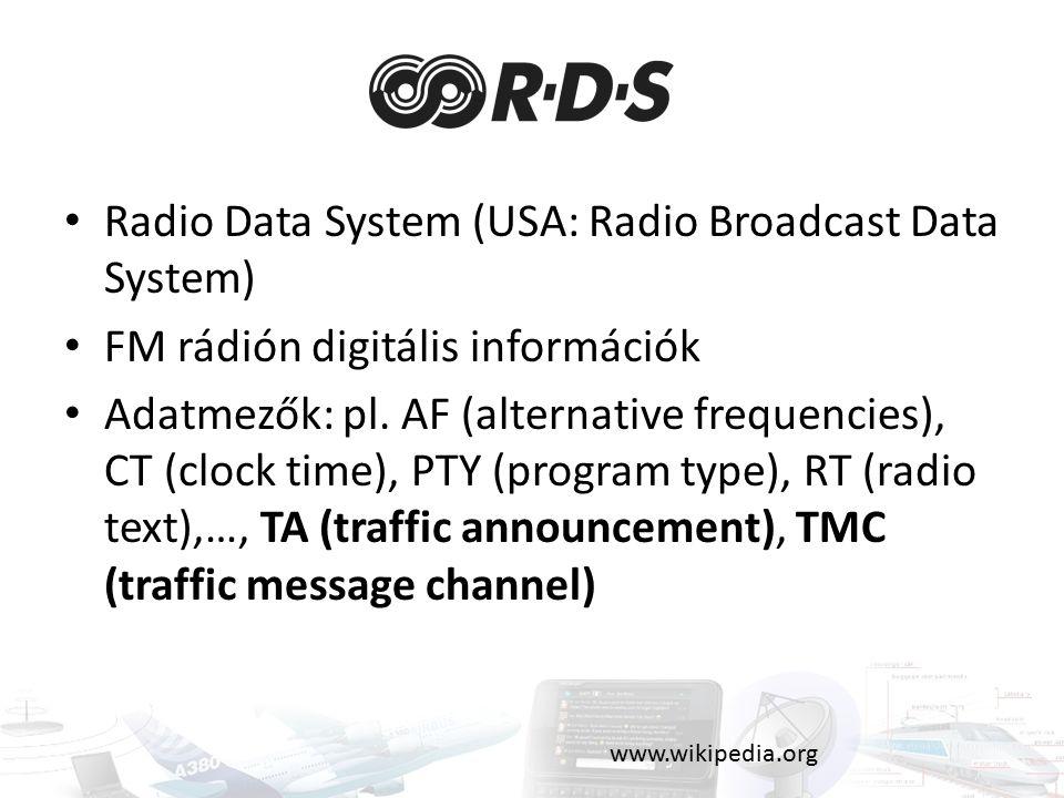 Radio Data System (USA: Radio Broadcast Data System) FM rádión digitális információk Adatmezők: pl.