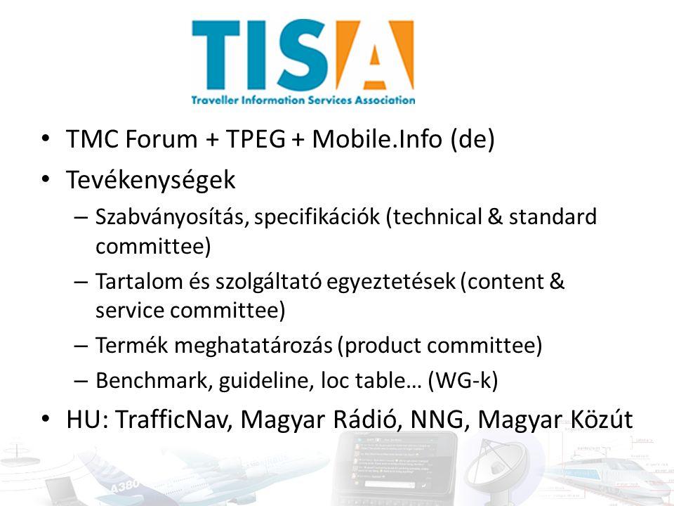 TMC Forum + TPEG + Mobile.Info (de) Tevékenységek – Szabványosítás, specifikációk (technical & standard committee) – Tartalom és szolgáltató egyeztetések (content & service committee) – Termék meghatatározás (product committee) – Benchmark, guideline, loc table… (WG-k) HU: TrafficNav, Magyar Rádió, NNG, Magyar Közút