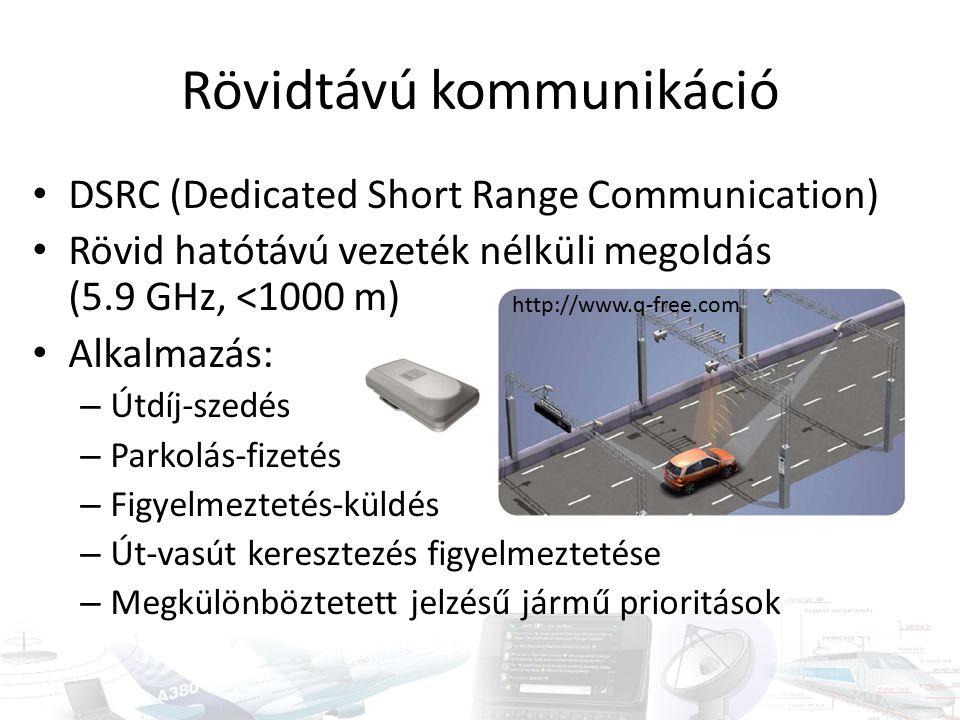 Rövidtávú kommunikáció DSRC (Dedicated Short Range Communication) Rövid hatótávú vezeték nélküli megoldás (5.9 GHz, <1000 m) Alkalmazás: – Útdíj-szedés – Parkolás-fizetés – Figyelmeztetés-küldés – Út-vasút keresztezés figyelmeztetése – Megkülönböztetett jelzésű jármű prioritások http://www.q-free.com