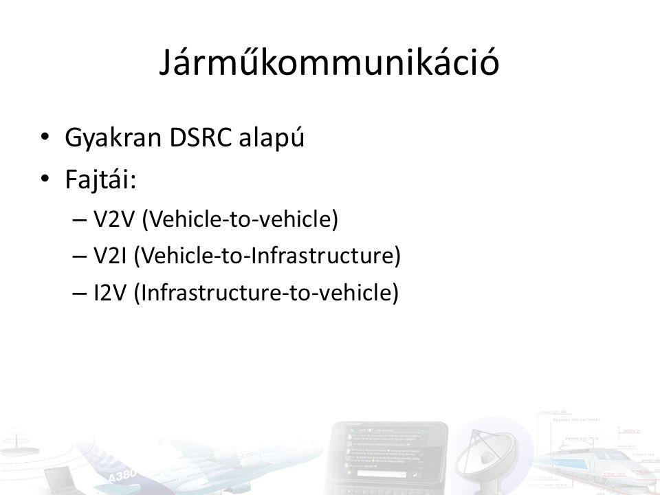 Járműkommunikáció Gyakran DSRC alapú Fajtái: – V2V (Vehicle-to-vehicle) – V2I (Vehicle-to-Infrastructure) – I2V (Infrastructure-to-vehicle)