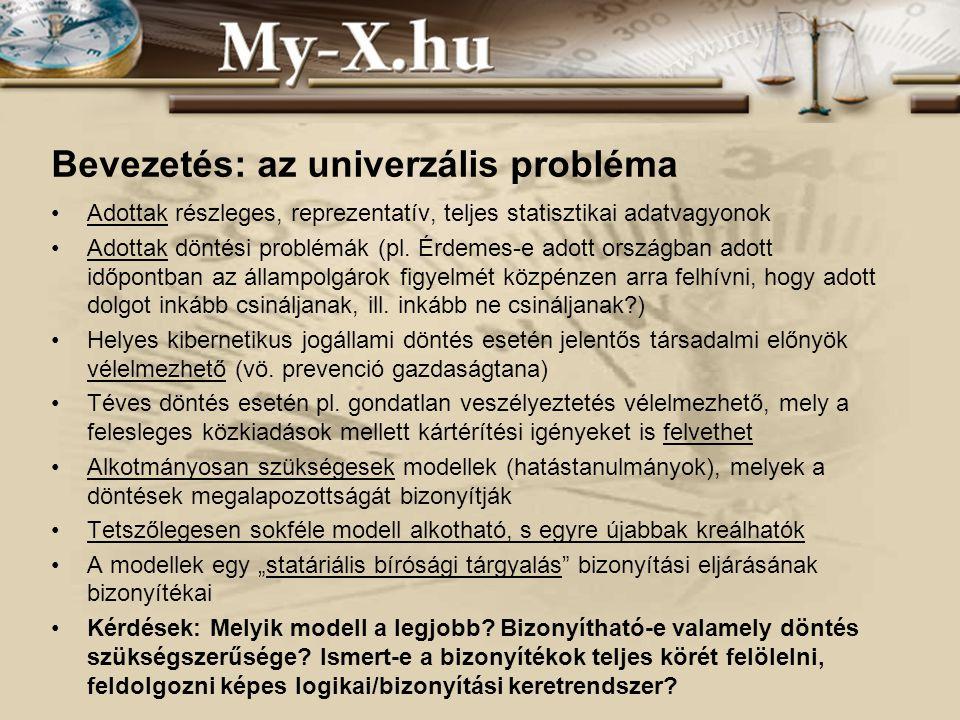 INNOCSEKK 156/2006 Bevezetés: az univerzális probléma Adottak részleges, reprezentatív, teljes statisztikai adatvagyonok Adottak döntési problémák (pl.