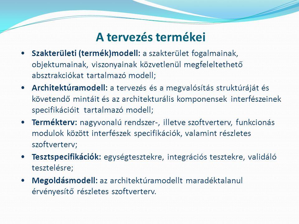 A tervezés termékei Szakterületi (termék)modell: a szakterület fogalmainak, objektumainak, viszonyainak közvetlenül megfeleltethető absztrakciókat tar