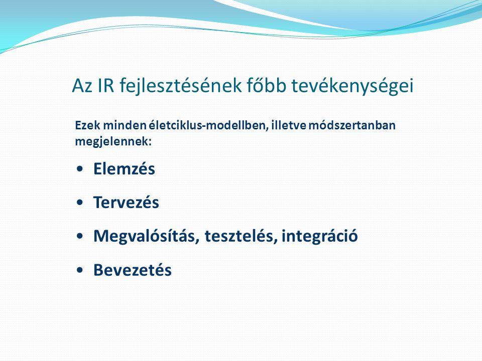 Az IR fejlesztésének főbb tevékenységei Ezek minden életciklus-modellben, illetve módszertanban megjelennek: Elemzés Tervezés Megvalósítás, tesztelés,
