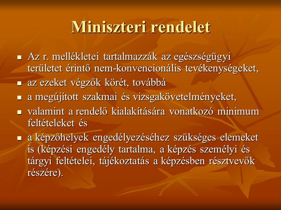 Miniszteri rendelet Az r. mellékletei tartalmazzák az egészségügyi területet érintő nem-konvencionális tevékenységeket, Az r. mellékletei tartalmazzák