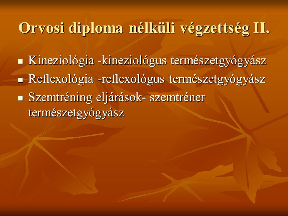 Orvosi diploma nélküli végzettség II. Kineziológia -kineziológus természetgyógyász Kineziológia -kineziológus természetgyógyász Reflexológia -reflexol