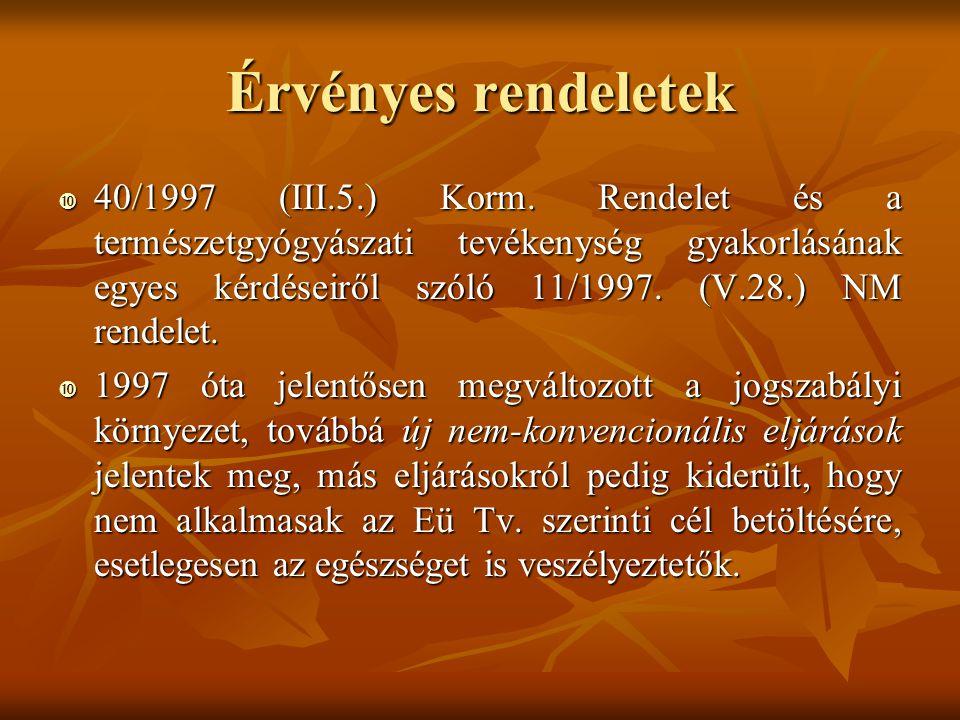 Érvényes rendeletek  40/1997 (III.5.) Korm. Rendelet és a természetgyógyászati tevékenység gyakorlásának egyes kérdéseiről szóló 11/1997. (V.28.) NM