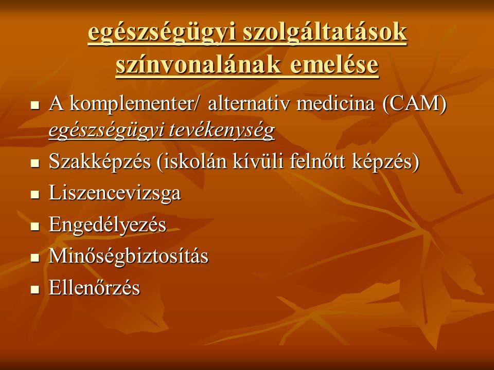 egészségügyi szolgáltatások színvonalának emelése A komplementer/ alternativ medicina (CAM) egészségügyi tevékenység A komplementer/ alternativ medici