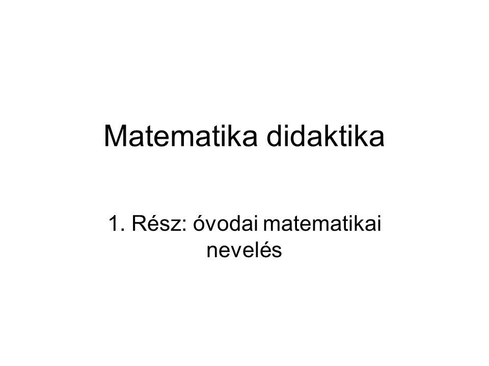 Matematika didaktika 1. Rész: óvodai matematikai nevelés