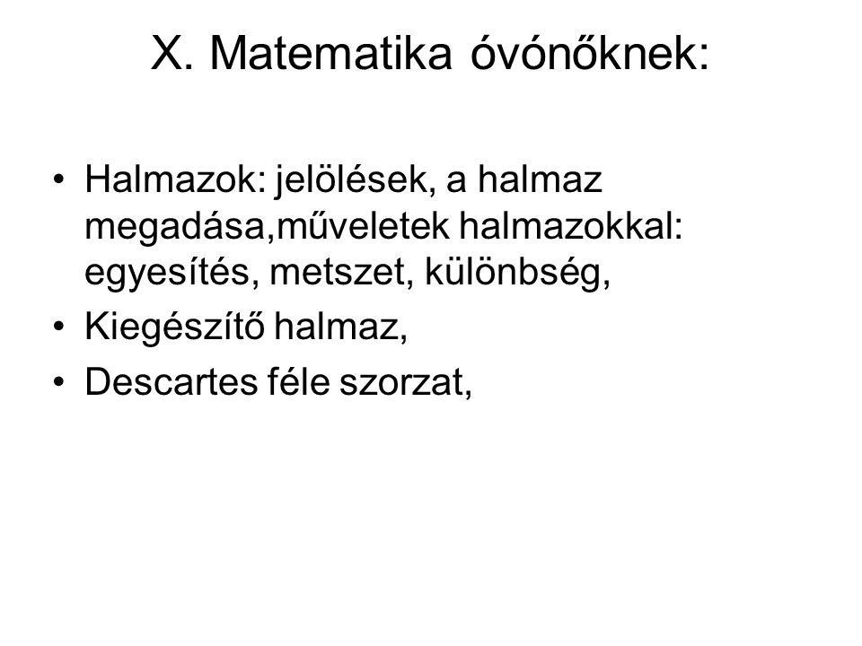 X. Matematika óvónőknek: Halmazok: jelölések, a halmaz megadása,műveletek halmazokkal: egyesítés, metszet, különbség, Kiegészítő halmaz, Descartes fél