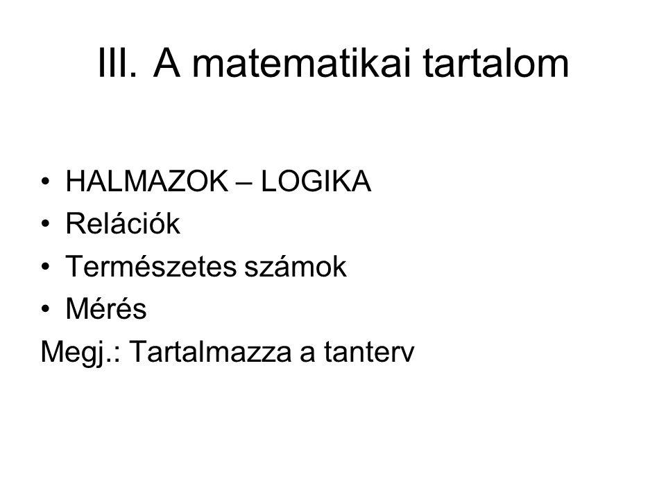 III. A matematikai tartalom HALMAZOK – LOGIKA Relációk Természetes számok Mérés Megj.: Tartalmazza a tanterv