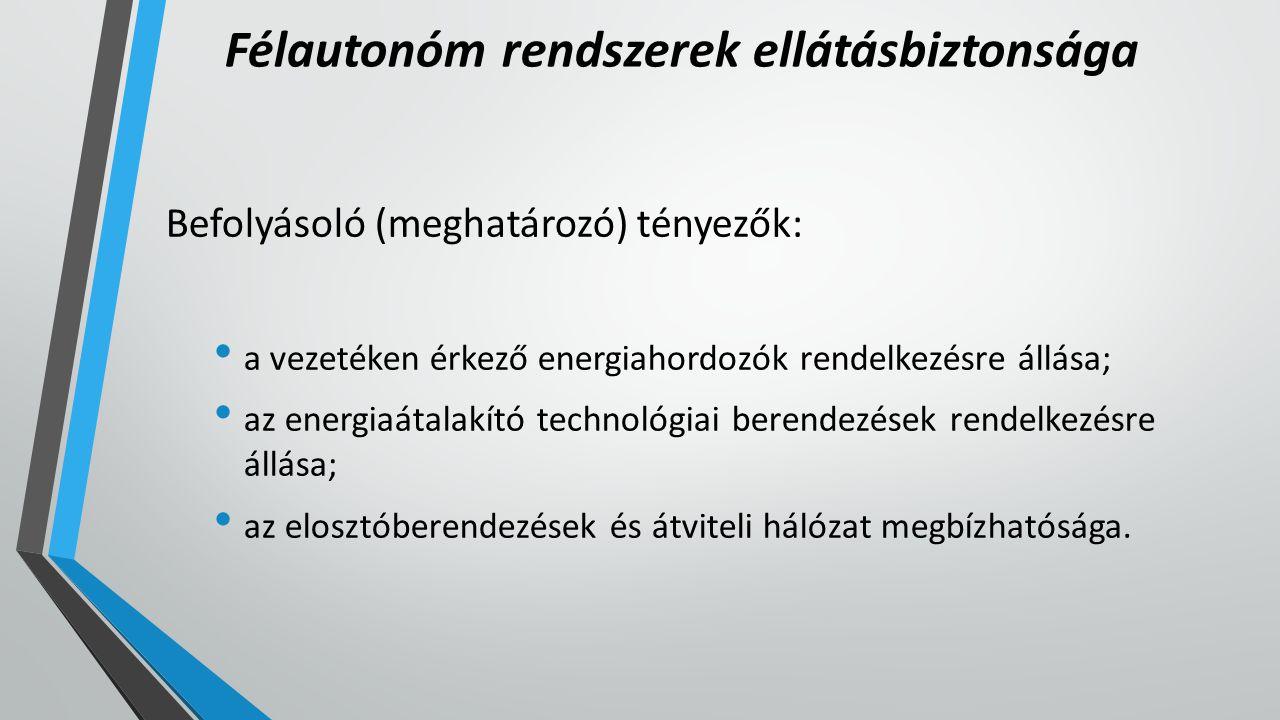 Félautonóm rendszerek ellátásbiztonsága Befolyásoló (meghatározó) tényezők: a vezetéken érkező energiahordozók rendelkezésre állása; az energiaátalakító technológiai berendezések rendelkezésre állása; az elosztóberendezések és átviteli hálózat megbízhatósága.