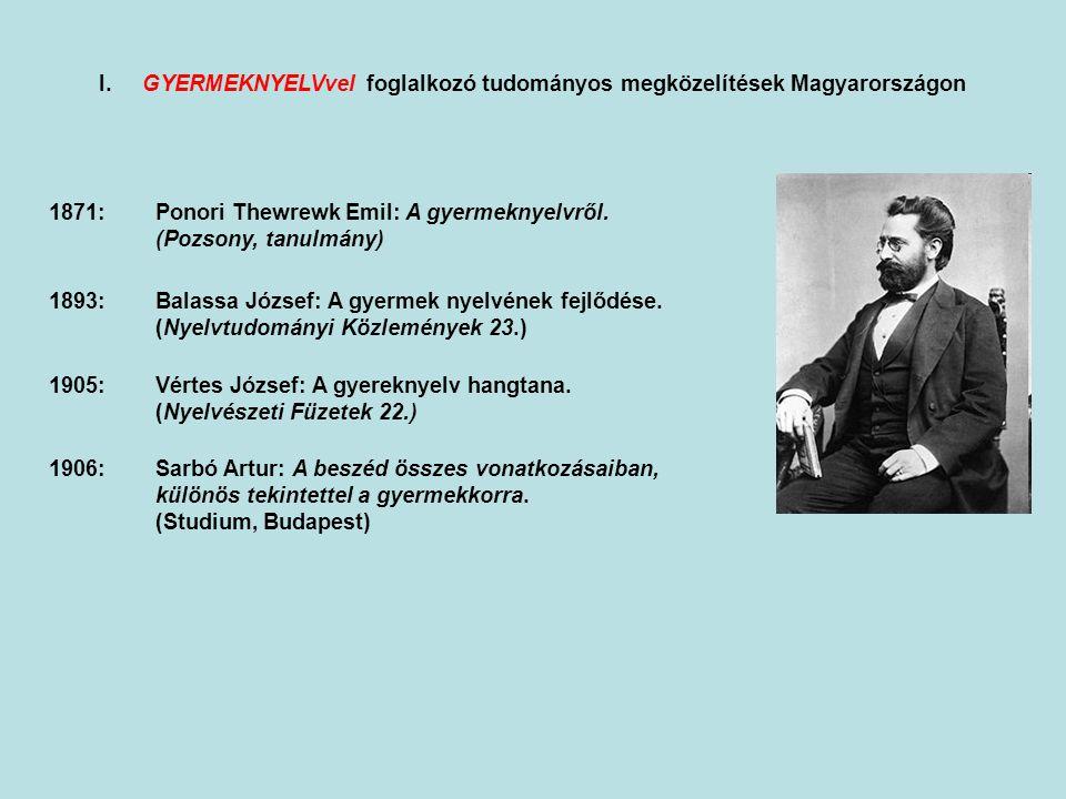 I. A gyermekek nyelvével foglalkozó tudományos megközelítések Magyarországon 1871:Ponori Thewrewk Emil: A gyermeknyelvről. (Pozsony, tanulmány) 1893:B