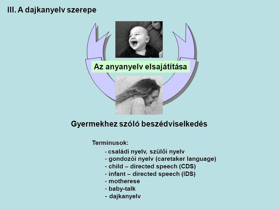 Az anyanyelv elsajátítása Gyermekhez szóló beszédviselkedés Terminusok : - családi nyelv, szülői nyelv - gondozói nyelv (caretaker language) - child –