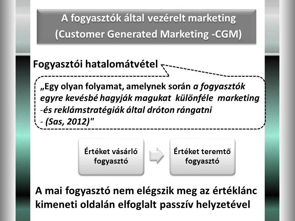"""Fogyasztói hatalomátvétel """"Egy olyan folyamat, amelynek során a fogyasztók egyre kevésbé hagyják magukat különféle marketing -és reklámstratégiák álta"""