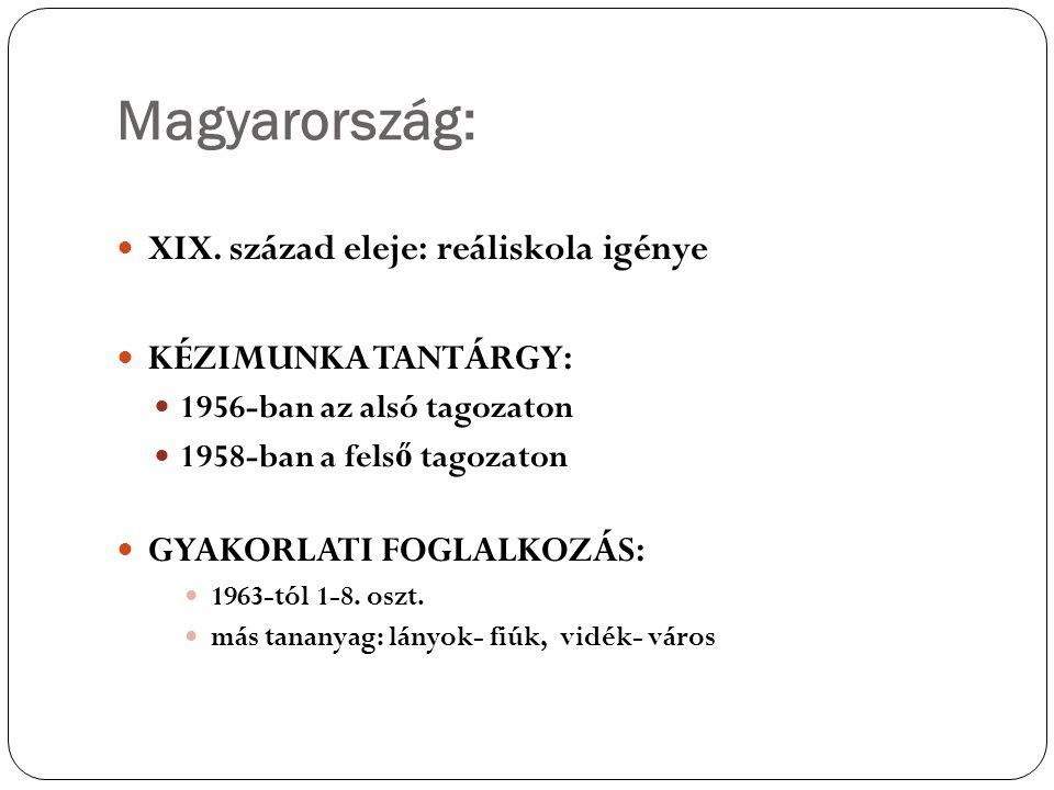 Magyarország: XIX. század eleje: reáliskola igénye KÉZIMUNKA TANTÁRGY: 1956-ban az alsó tagozaton 1958-ban a fels ő tagozaton GYAKORLATI FOGLALKOZÁS: