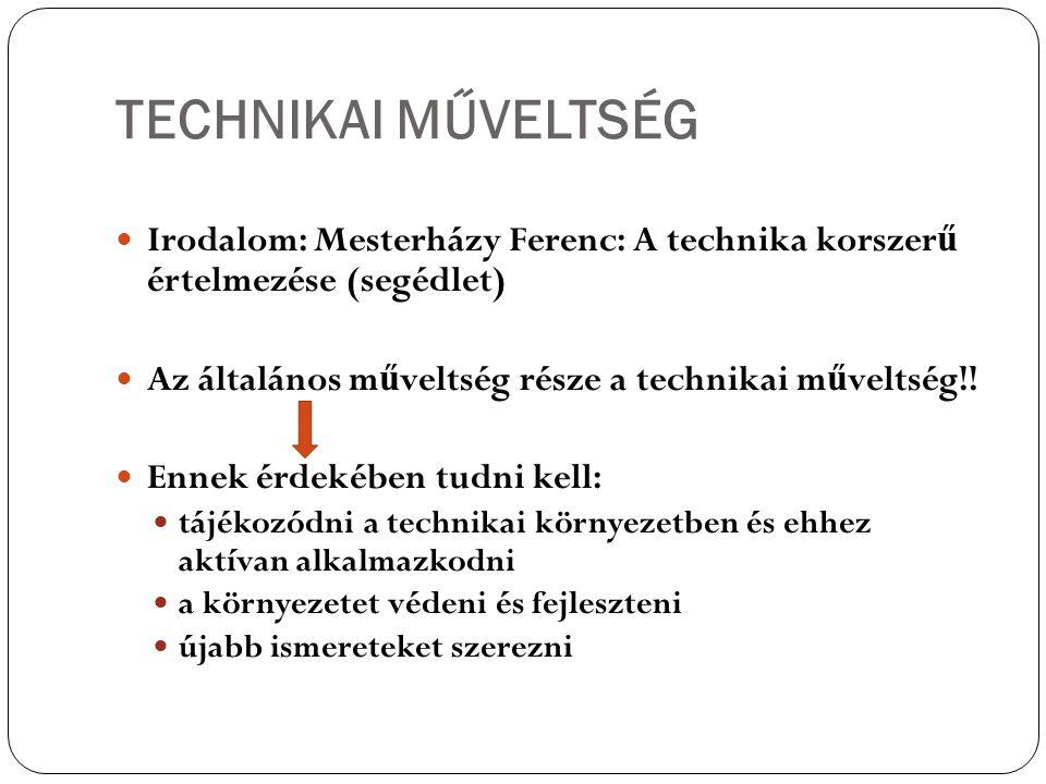 TECHNIKAI MŰVELTSÉG Irodalom: Mesterházy Ferenc: A technika korszer ű értelmezése (segédlet) Az általános m ű veltség része a technikai m ű veltség!!