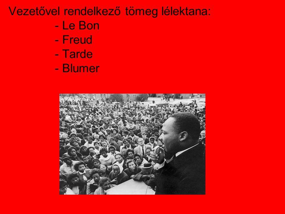 Vezetővel rendelkező tömeg lélektana: - Le Bon - Freud - Tarde - Blumer