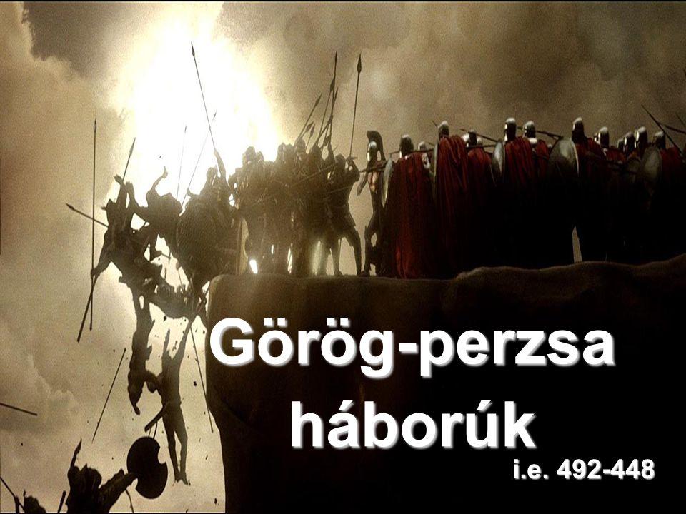 A görög-perzsa háborúk menete I.szakasz i.e. 492 - a perzsa flotta megsemmisül a viharban II.