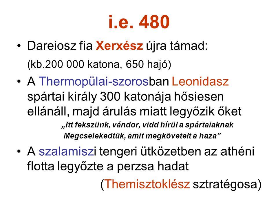 i.e. 480 Dareiosz fia Xerxész újra támad: (kb.200 000 katona, 650 hajó) A Thermopülai-szorosban Leonidasz spártai király 300 katonája hősiesen ellánál