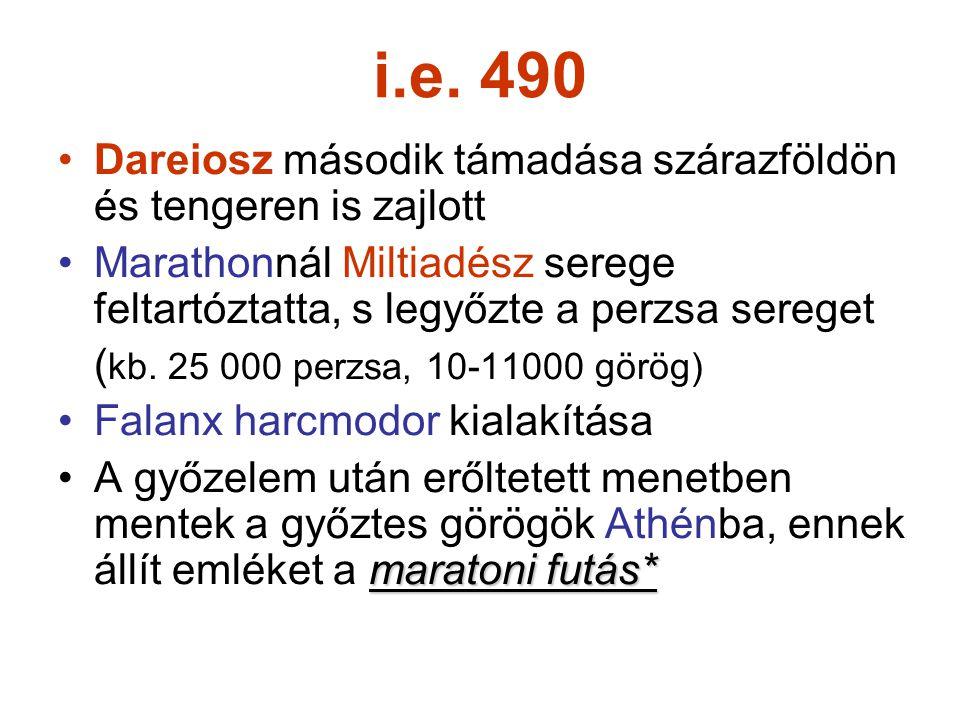 i.e. 490 Dareiosz második támadása szárazföldön és tengeren is zajlott Marathonnál Miltiadész serege feltartóztatta, s legyőzte a perzsa sereget ( kb.
