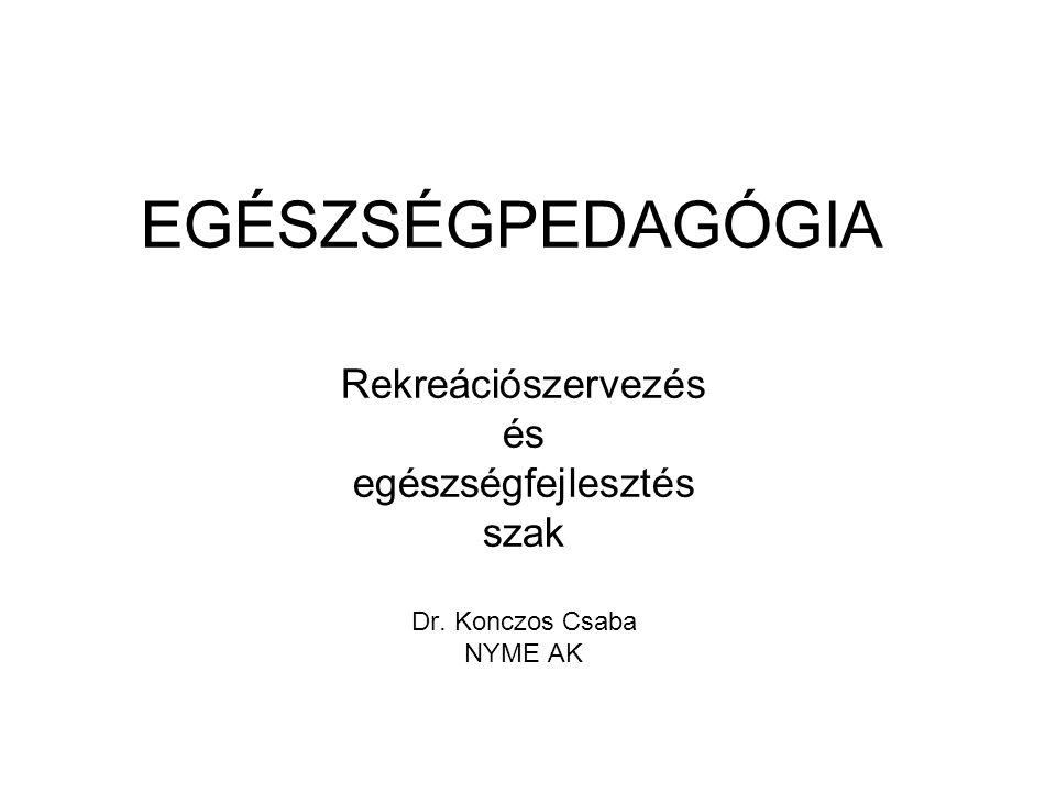 EGÉSZSÉGPEDAGÓGIA Rekreációszervezés és egészségfejlesztés szak Dr. Konczos Csaba NYME AK