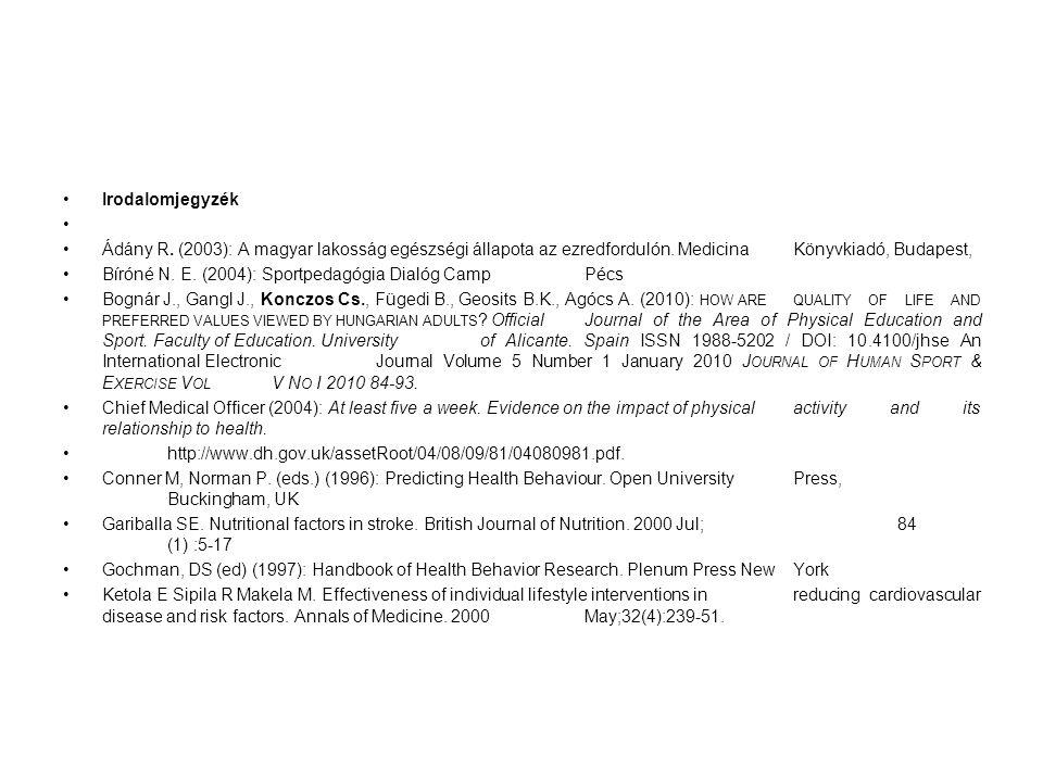Irodalomjegyzék Ádány R. (2003): A magyar lakosság egészségi állapota az ezredfordulón. MedicinaKönyvkiadó, Budapest, Bíróné N. E. (2004): Sportpedagó
