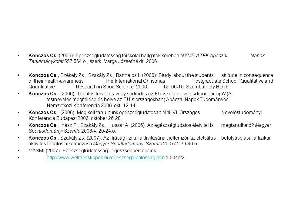 Konczos Cs. (2006): Egészségtudatosság főiskolai hallgatók körében NYME-ATFK ApáczaiNapok Tanulmánykötet 557.564.o., szerk. Varga Józsefné dr. 2006. K