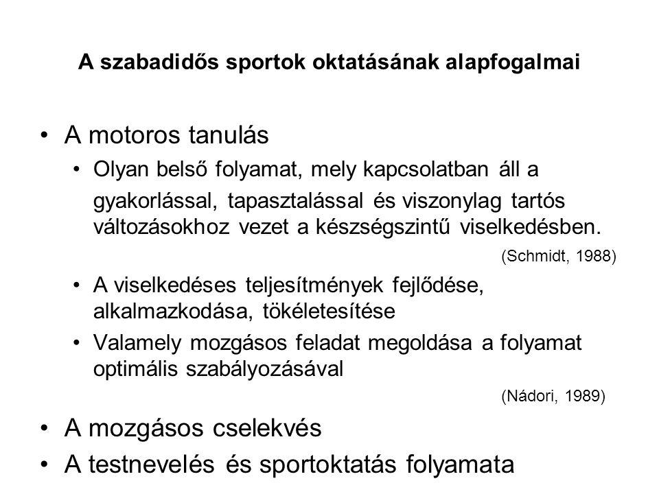 A szabadidős sportok oktatásának alapfogalmai A motoros tanulás Olyan belső folyamat, mely kapcsolatban áll a gyakorlással, tapasztalással és viszonyl