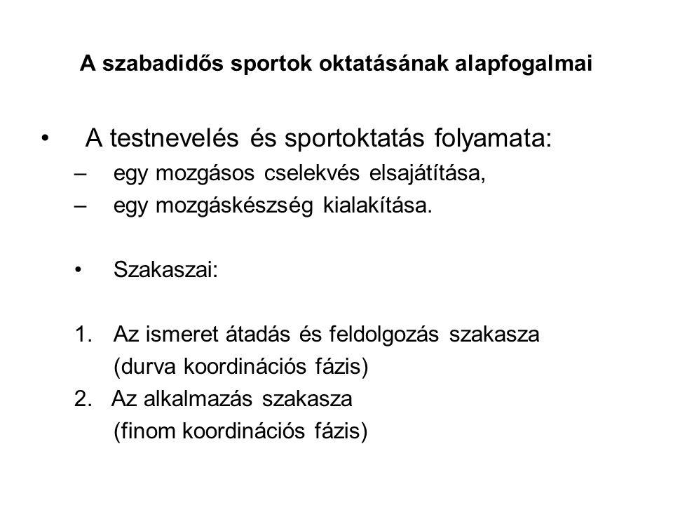 A szabadidős sportok oktatásának alapfogalmai A testnevelés és sportoktatás folyamata: –egy mozgásos cselekvés elsajátítása, –egy mozgáskészség kialak