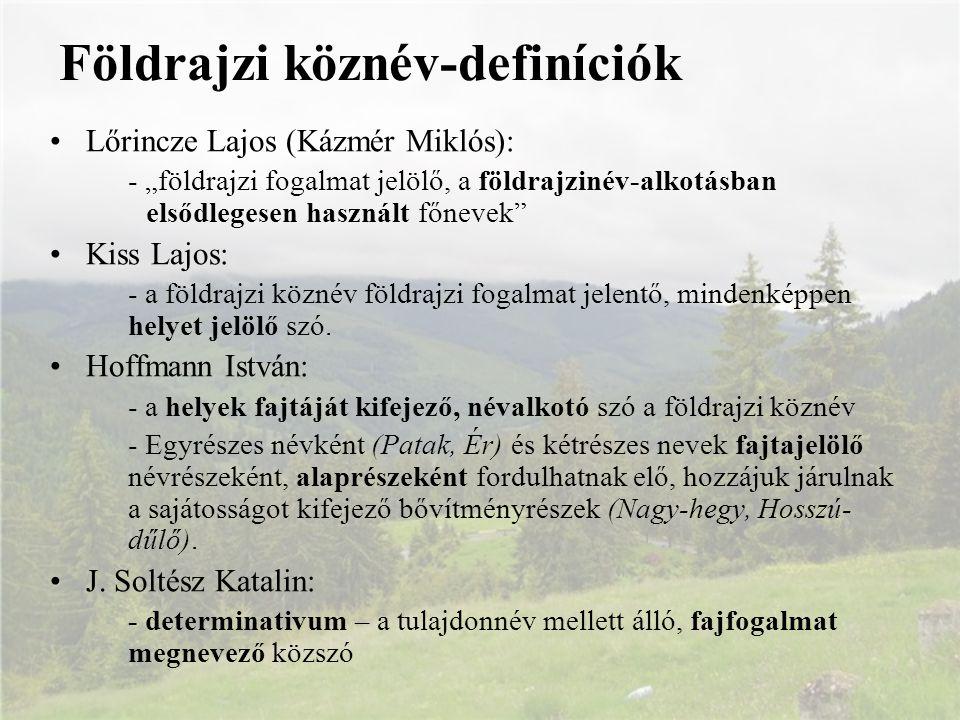 """Földrajzi köznév-definíciók Lőrincze Lajos (Kázmér Miklós): - """"földrajzi fogalmat jelölő, a földrajzinév-alkotásban elsődlegesen használt főnevek"""" Kis"""