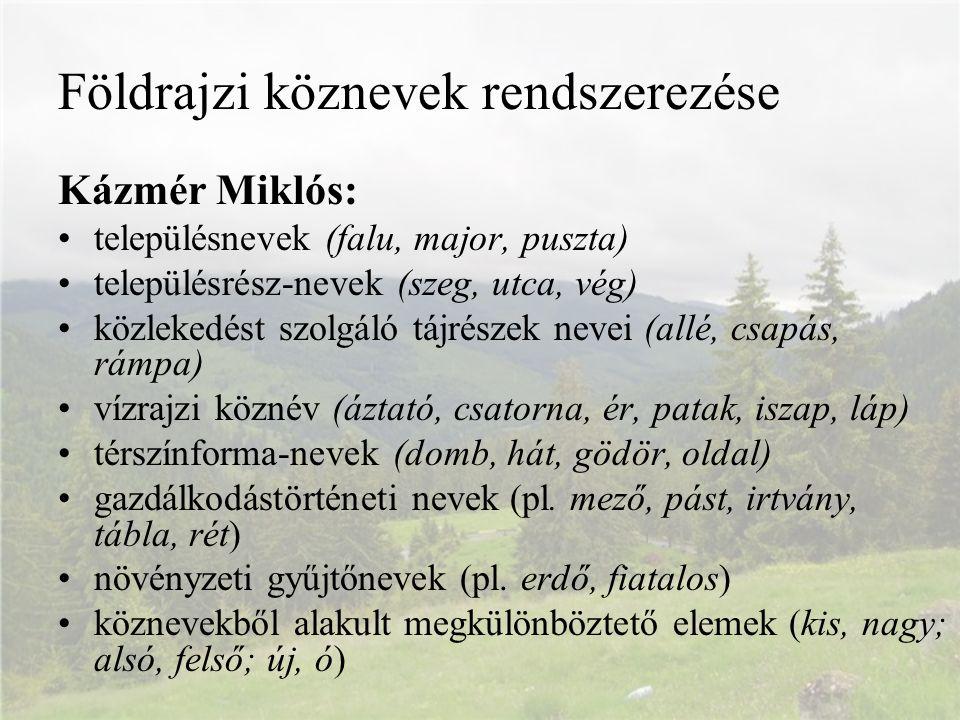 Földrajzi köznevek rendszerezése Kázmér Miklós: településnevek (falu, major, puszta) településrész-nevek (szeg, utca, vég) közlekedést szolgáló tájrés