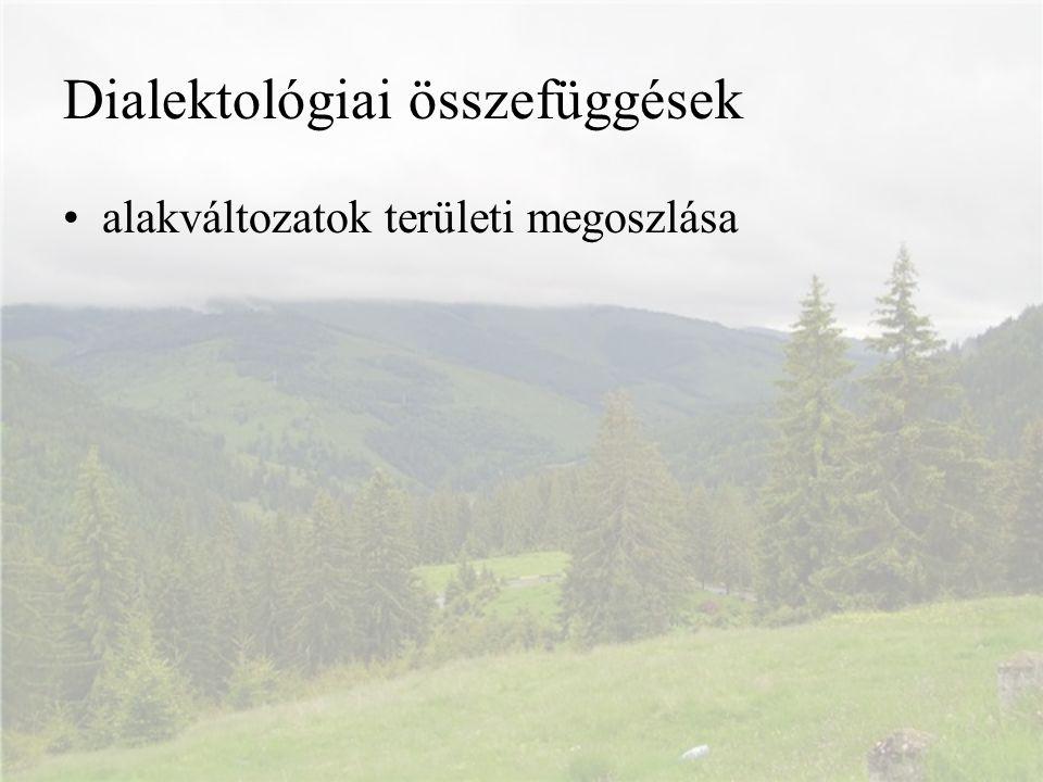 Dialektológiai összefüggések alakváltozatok területi megoszlása