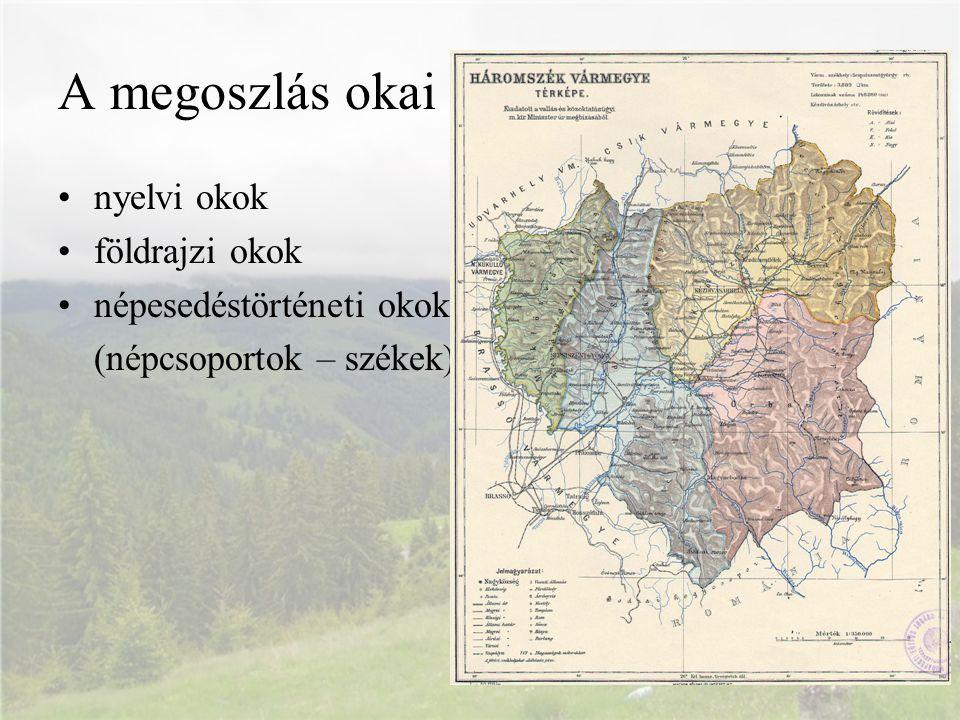 A megoszlás okai nyelvi okok földrajzi okok népesedéstörténeti okok (népcsoportok – székek)