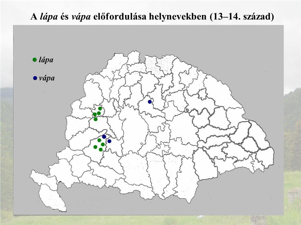 A lápa és vápa előfordulása helynevekben (13–14. század)