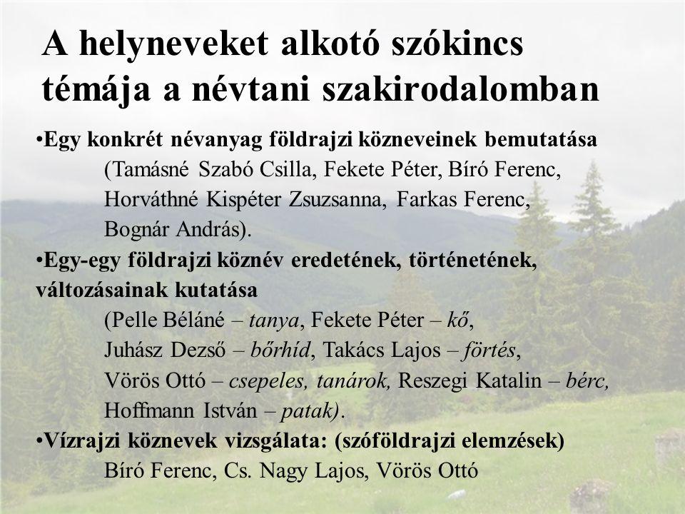 A helyneveket alkotó szókincs témája a névtani szakirodalomban Egy konkrét névanyag földrajzi közneveinek bemutatása (Tamásné Szabó Csilla, Fekete Pét