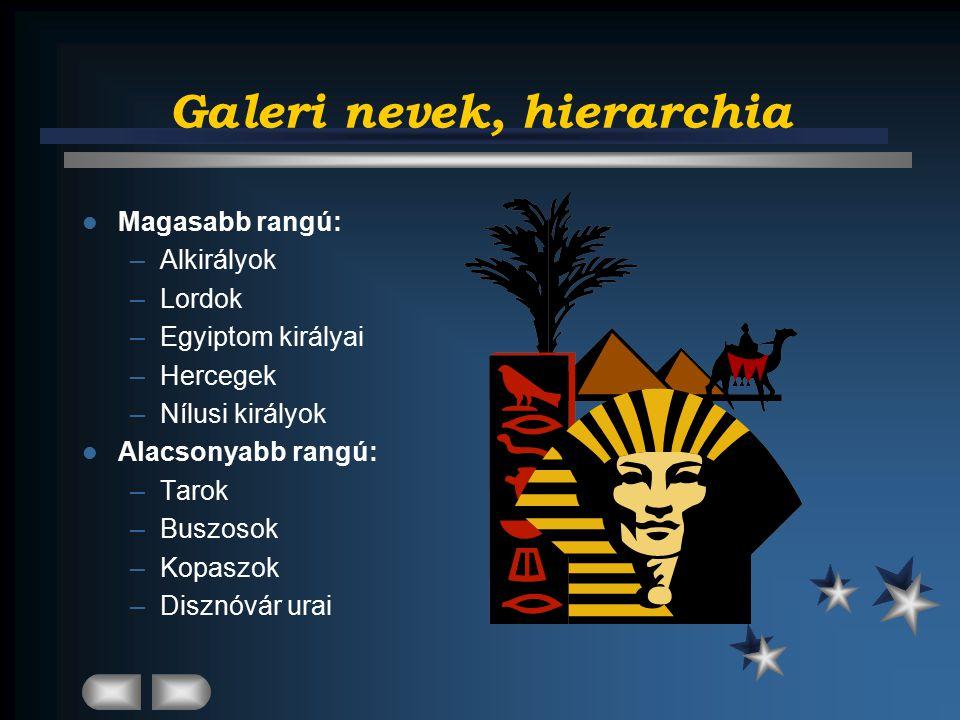 Galeri nevek, hierarchia Magasabb rangú: –Alkirályok –Lordok –Egyiptom királyai –Hercegek –Nílusi királyok Alacsonyabb rangú: –Tarok –Buszosok –Kopaszok –Disznóvár urai