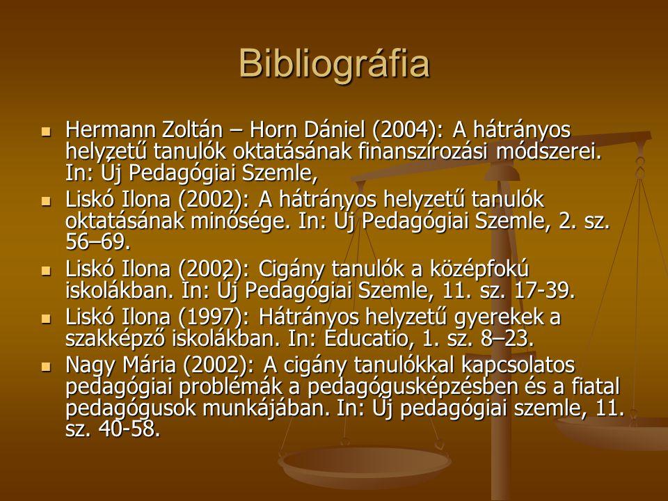 Bibliográfia Hermann Zoltán – Horn Dániel (2004): A hátrányos helyzetű tanulók oktatásának finanszírozási módszerei. In: Új Pedagógiai Szemle, Hermann