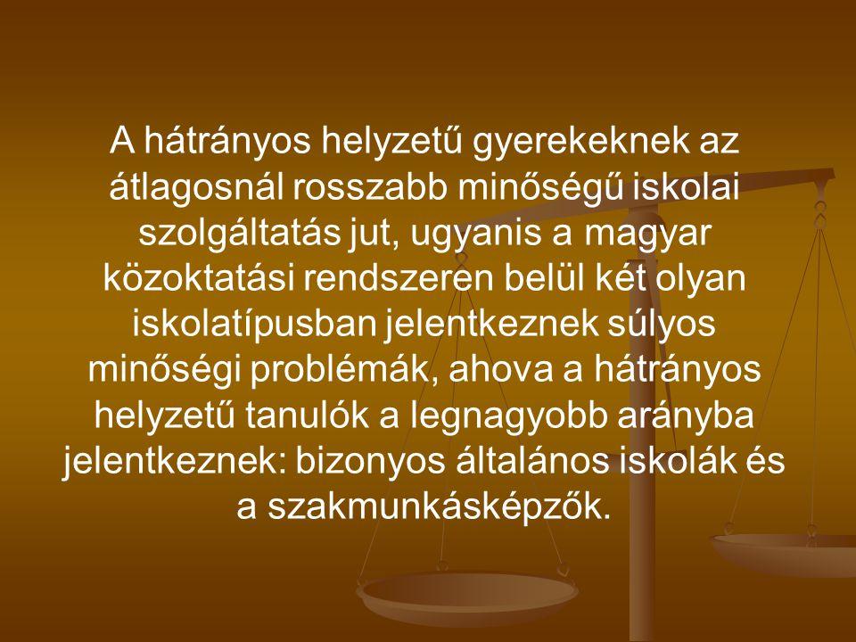 A hátrányos helyzetű gyerekeknek az átlagosnál rosszabb minőségű iskolai szolgáltatás jut, ugyanis a magyar közoktatási rendszeren belül két olyan isk