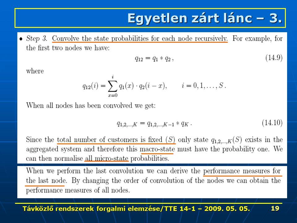 Távközlő rendszerek forgalmi elemzése/TTE 14-1 – 2009. 05. 05. 19 Egyetlen zárt lánc – 3.