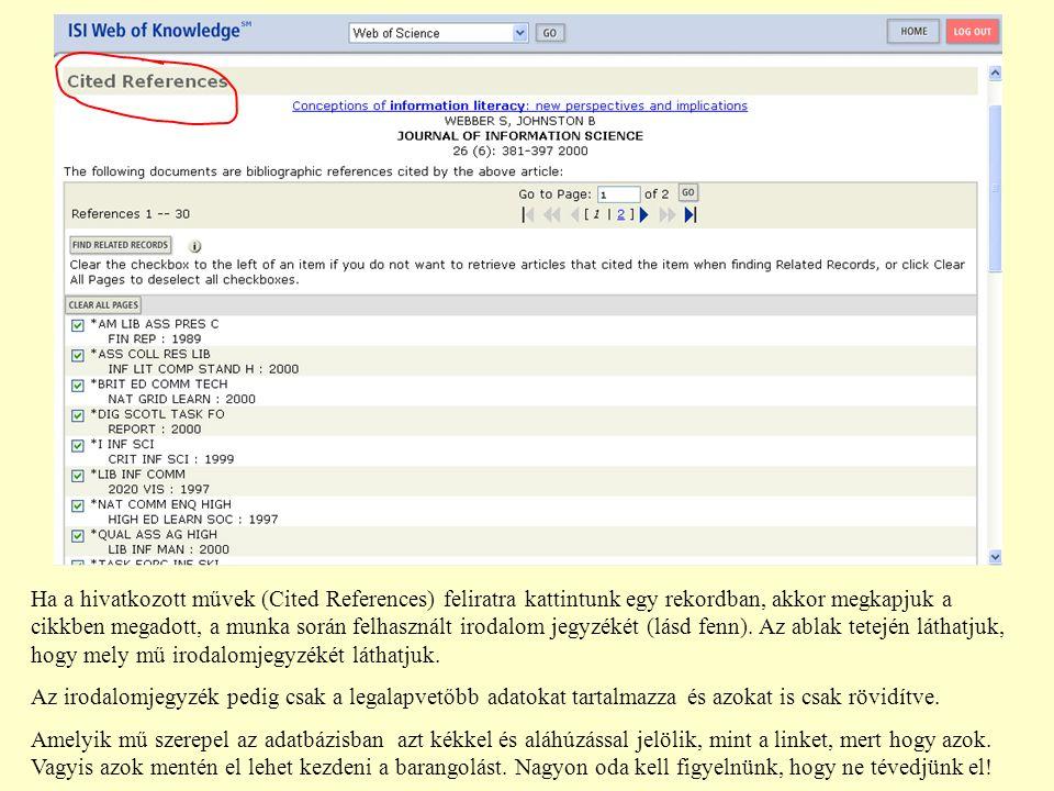 Ha a hivatkozott művek (Cited References) feliratra kattintunk egy rekordban, akkor megkapjuk a cikkben megadott, a munka során felhasznált irodalom jegyzékét (lásd fenn).