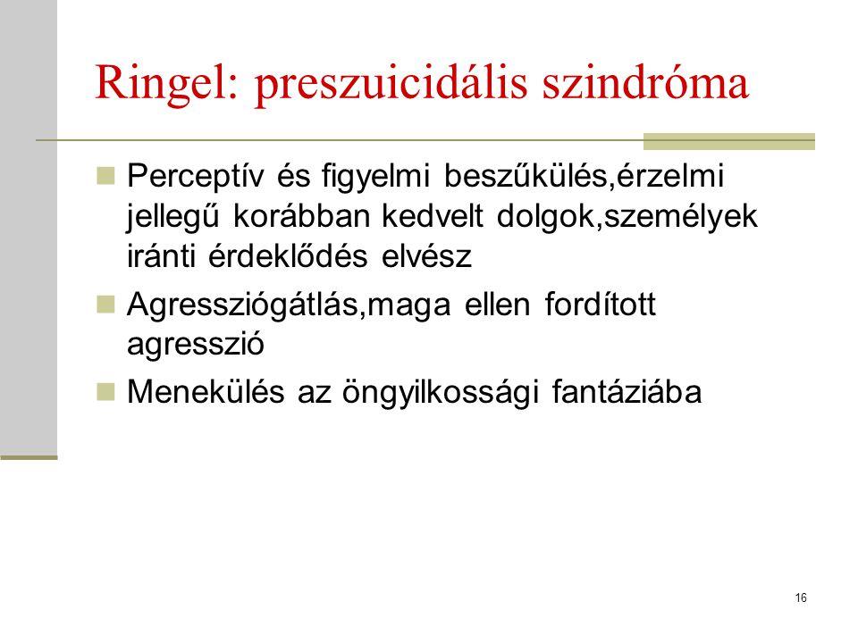 Ringel: preszuicidális szindróma Perceptív és figyelmi beszűkülés,érzelmi jellegű korábban kedvelt dolgok,személyek iránti érdeklődés elvész Agressziógátlás,maga ellen fordított agresszió Menekülés az öngyilkossági fantáziába 16