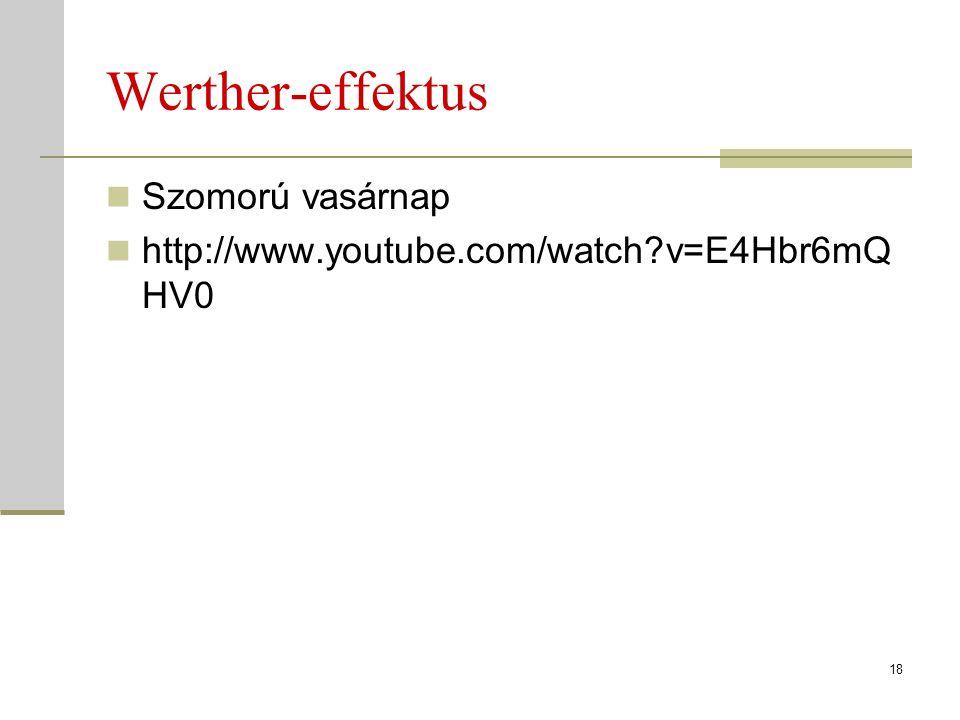 Werther-effektus Szomorú vasárnap http://www.youtube.com/watch?v=E4Hbr6mQ HV0 18
