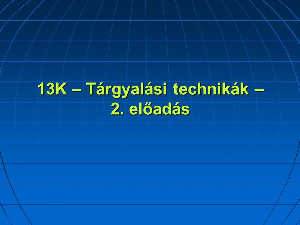 13K – Tárgyalási technikák – 2. előadás
